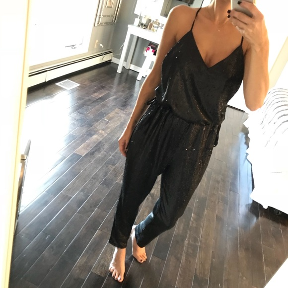 Free People Pants Nwt Sequin Jumpsuit Black Xs Poshmark